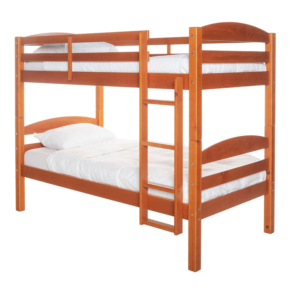 Solid Wood Twin Over Twin Bunk Bed - Honey Kissed - Saracina Home