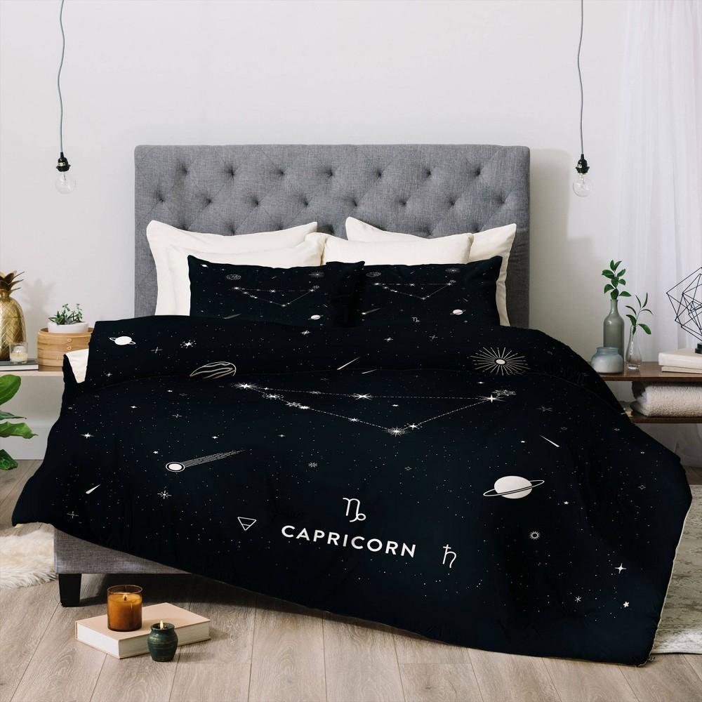 King Cuss Yeah Designs Capricorn Star Constellation Comforter Set Black Deny Designs