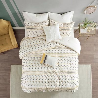 King/California King Ari 5 Piece Cotton Jacquard Comforter Set - Yellow