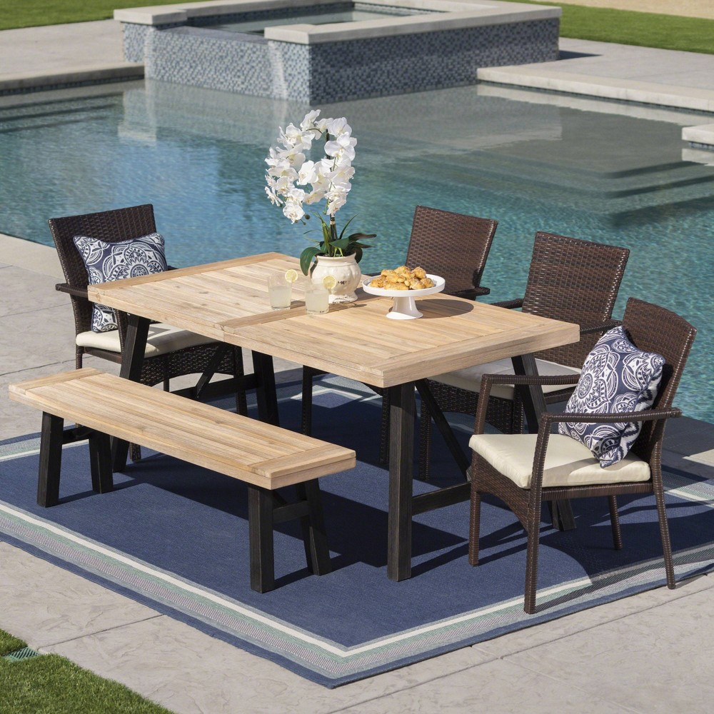 Horton 6pc Acacia Wood/Wicker Patio Dining Set - Brown/Cream (Brown/Ivory) - Christopher Knight Home