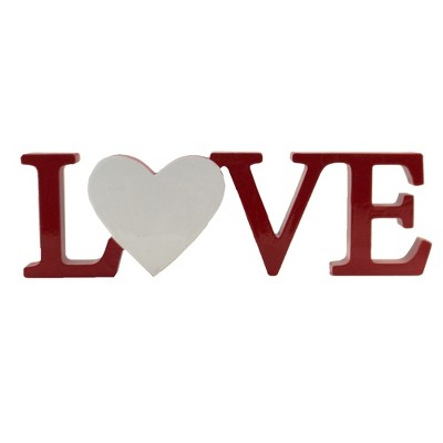"""Home Decor 3.75"""" Love With Heart Shelf Sitter Valentine's Day Sign  -  Freestanding Signs"""