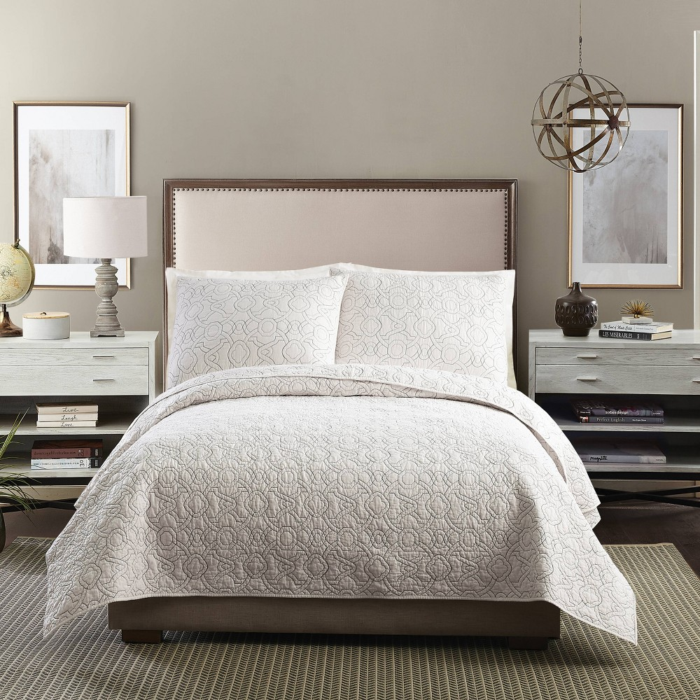 Image of Ayesha Curry Agadir King Quilt Cream, Beige