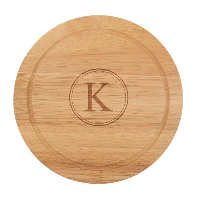 Cathy's Concepts Monogram Acacia Wood 5pc Serving Tray with Tool Set K