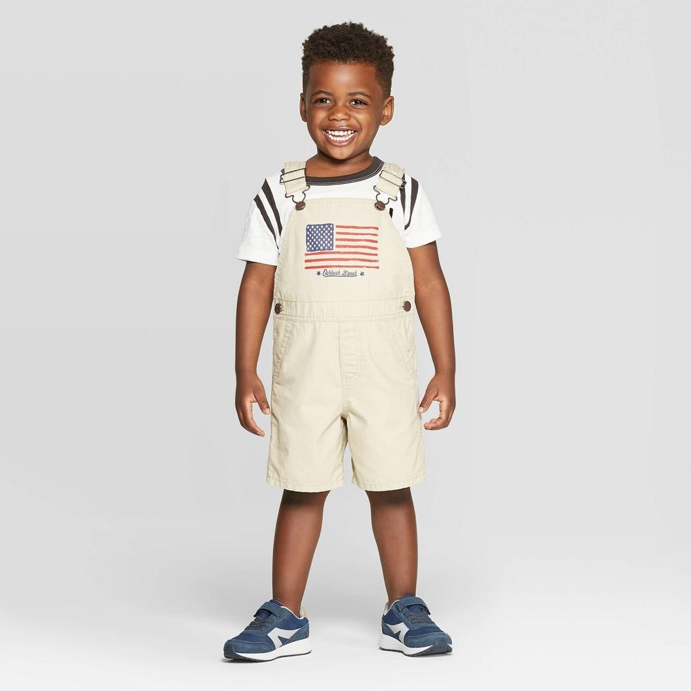 Image of OshKosh B'gosh Toddler Boys' American Flag Graphic Shortall - Khaki 12M, Toddler Boy's, Brown