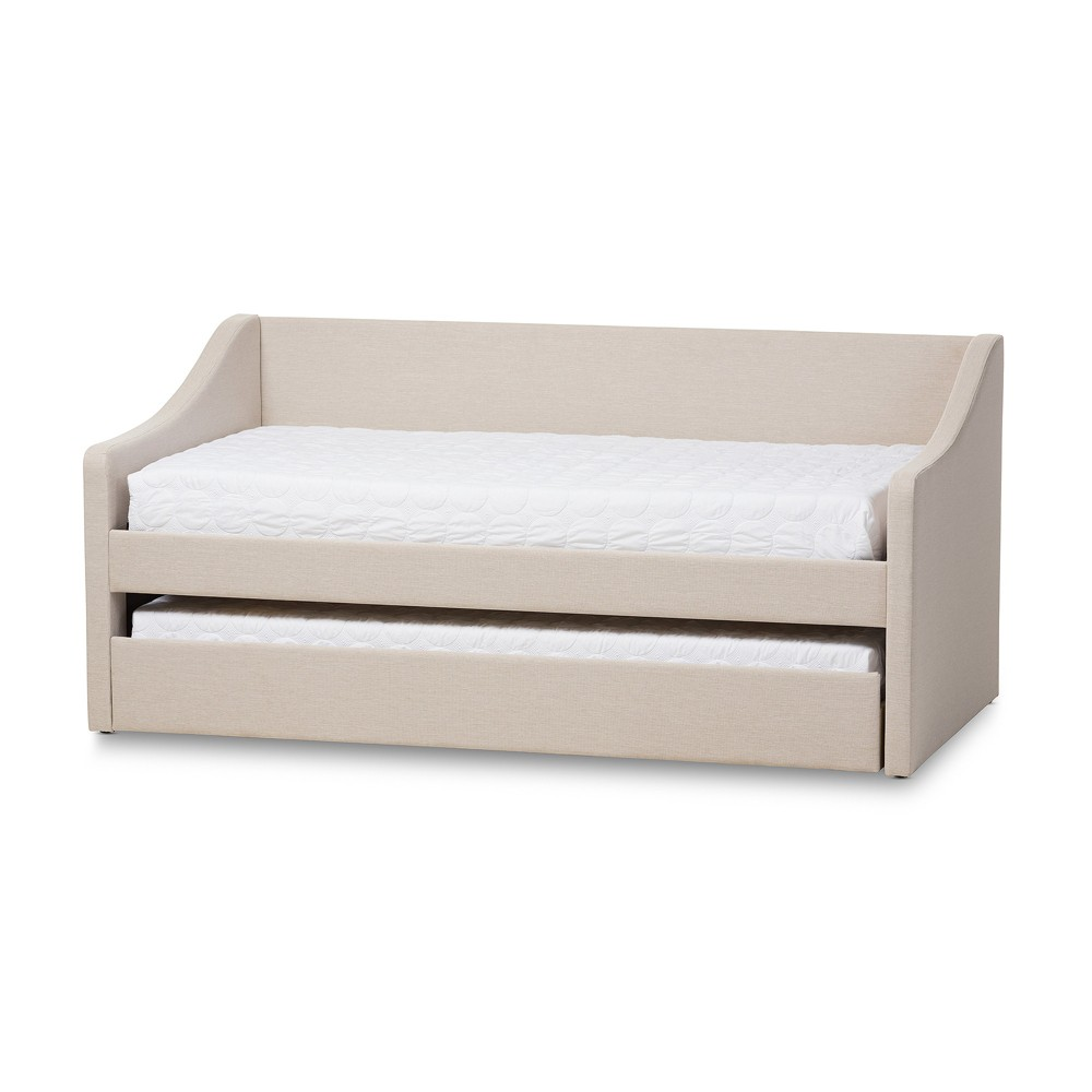 Barnstorm Modern and Contemporary Fabric Upholstered Daybed with Guest Trundle Bed - Twin - Beige - Baxton Studio, Buff Beige