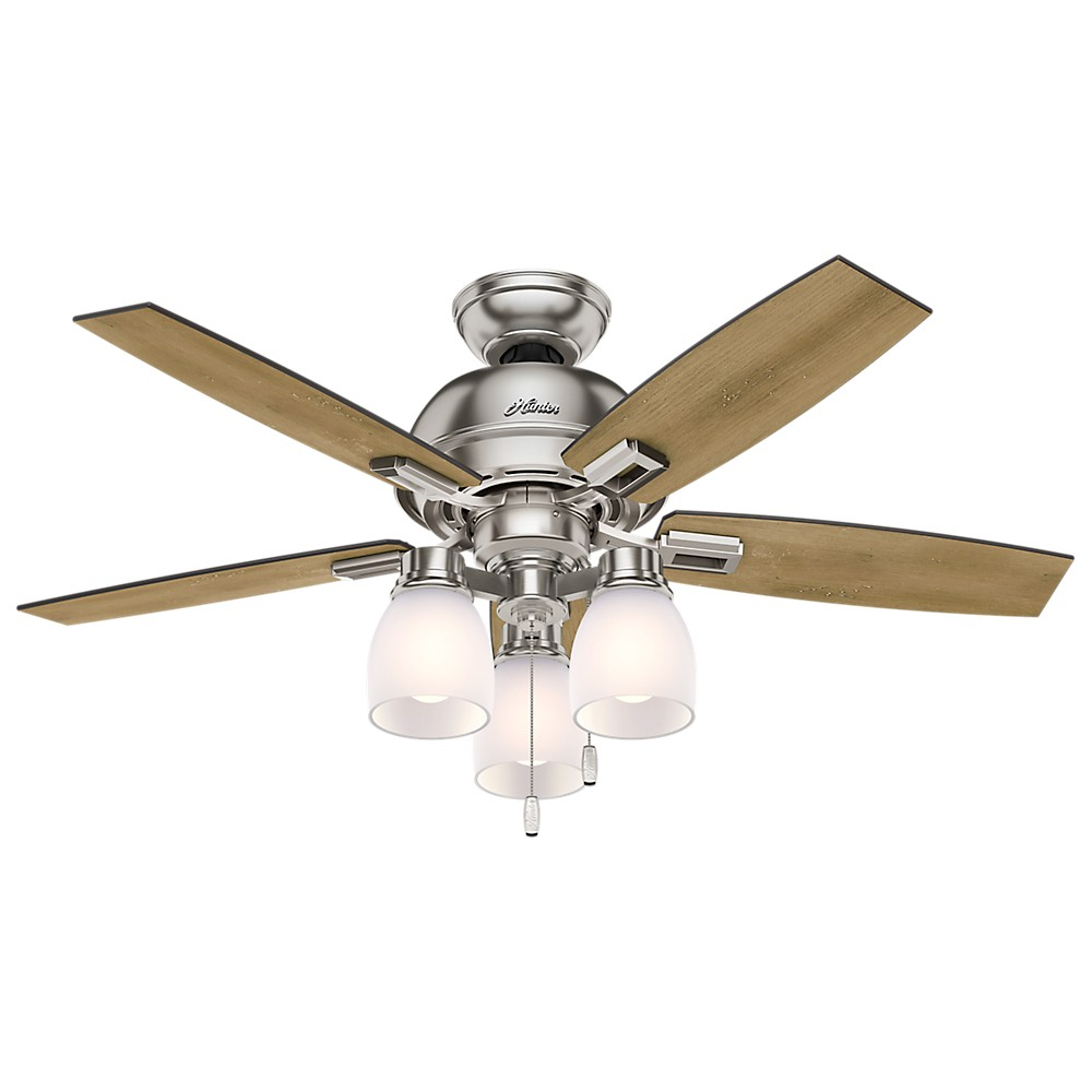 "Image of ""44"""" Donegan Three Light Brushed Nickel Ceiling Fan with Light - Hunter Fan"""