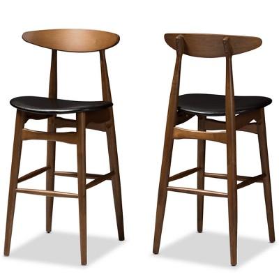 Set Of 2 Baxton Studio Flora Mid Century Modern Walnut Finished Wood Upholstered  Bar Stools Black : Target