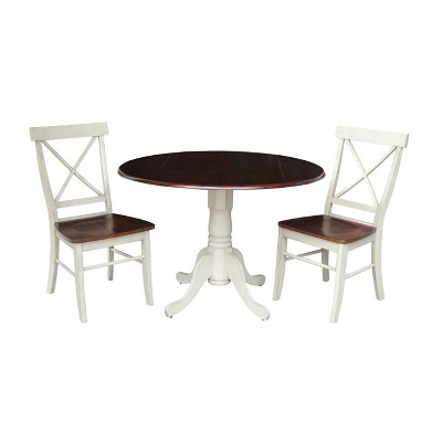 """Set of 3 42"""" Dual Table with 2 Back Chairs Dining Sets Almond/Brown - International Concepts"""