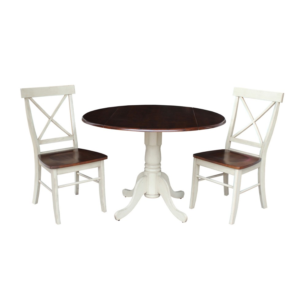 42 Set of 3 Dual Drop Leaf Table with 2 Back Chairs Almond/Brown (Brown/Brown) - International Concepts