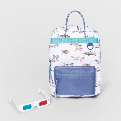 Boys' Square 3D Shark Print Backpack - Cat & Jack™ Blue