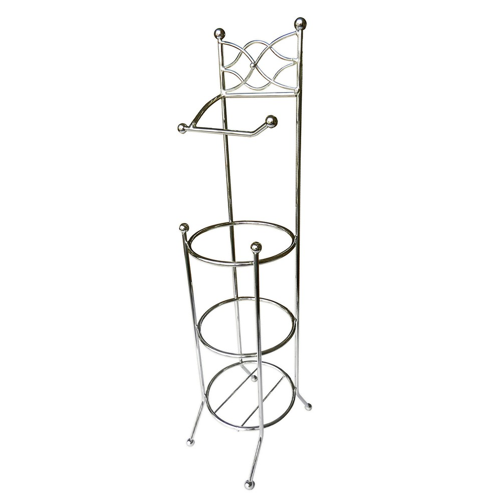 Freestanding Toilet Tissue Paper Rack Light Silver 25.6 - Elegant Home Fashions