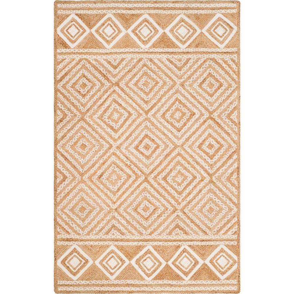 5'X8' Geometric Woven Area Rug Natural/Ivory - Safavieh, White