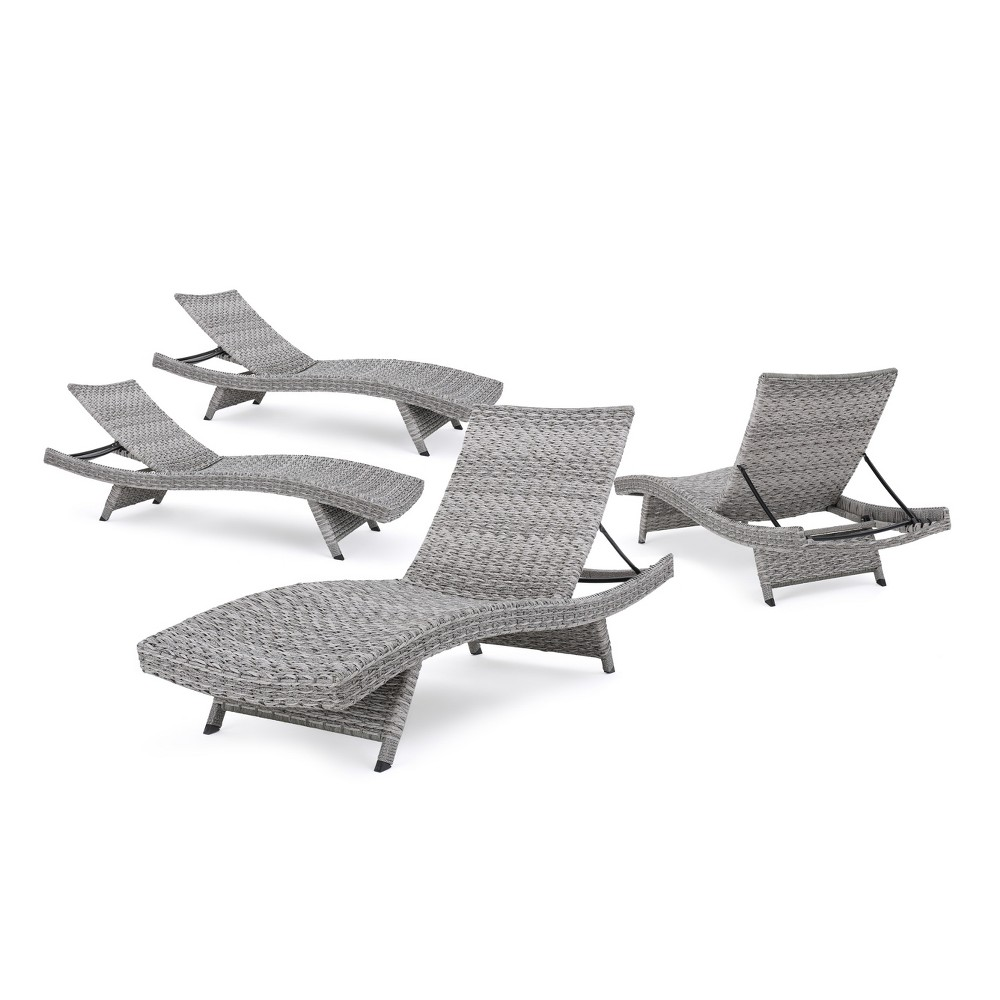Crete 4pk All-Weather Wicker Patio Chaise Lounge - Gray - Christopher Knight Home, Grey