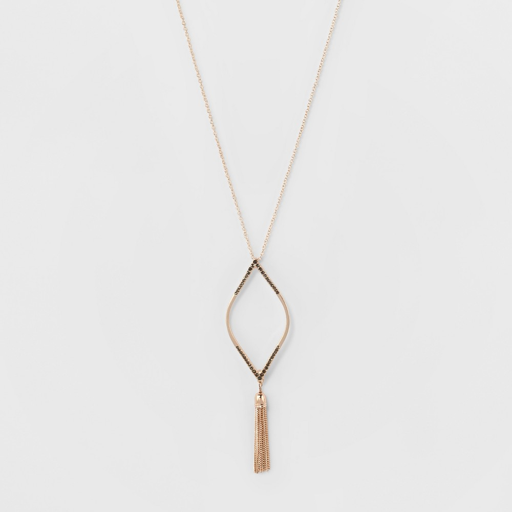 Diamond Shape with Stones & Tassel Long Necklace - A New Day Rose Gold