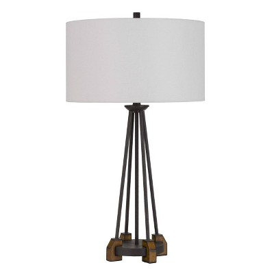 """31.25"""" Metal/Wood Bellewood Table Lamp with Fabric Drum Shade Textured Bronze - Cal Lighting"""