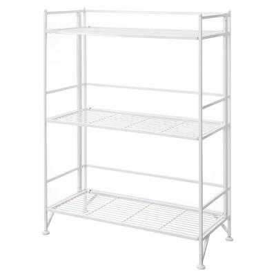 "33"" 3 Tier Wide Folding Metal Shelf White - Breighton Home"