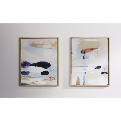 "(Set of 2)24"" x 30"" Abstract Framed Wall Art Canvas Beige - Project 62™"