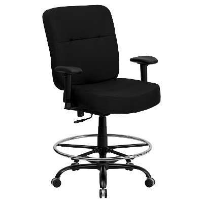 Bon Capacity Big U0026 Tall Drafting Chair Extra Wide Seat Black   Flash Furniture