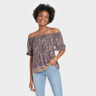Women's Floral Print Short Sleeve Off the Shoulder Top - Knox Rose™