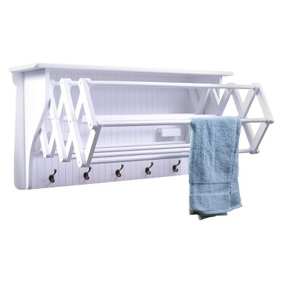 "36"" x 18"" Wall Shelf with Collapsible Drying Rack and Hooks White - Danya B."