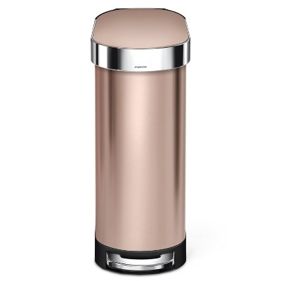 simplehuman 45 ltr Slim Step Trash Can With Liner Rim Rose Gold/Stainless Steel