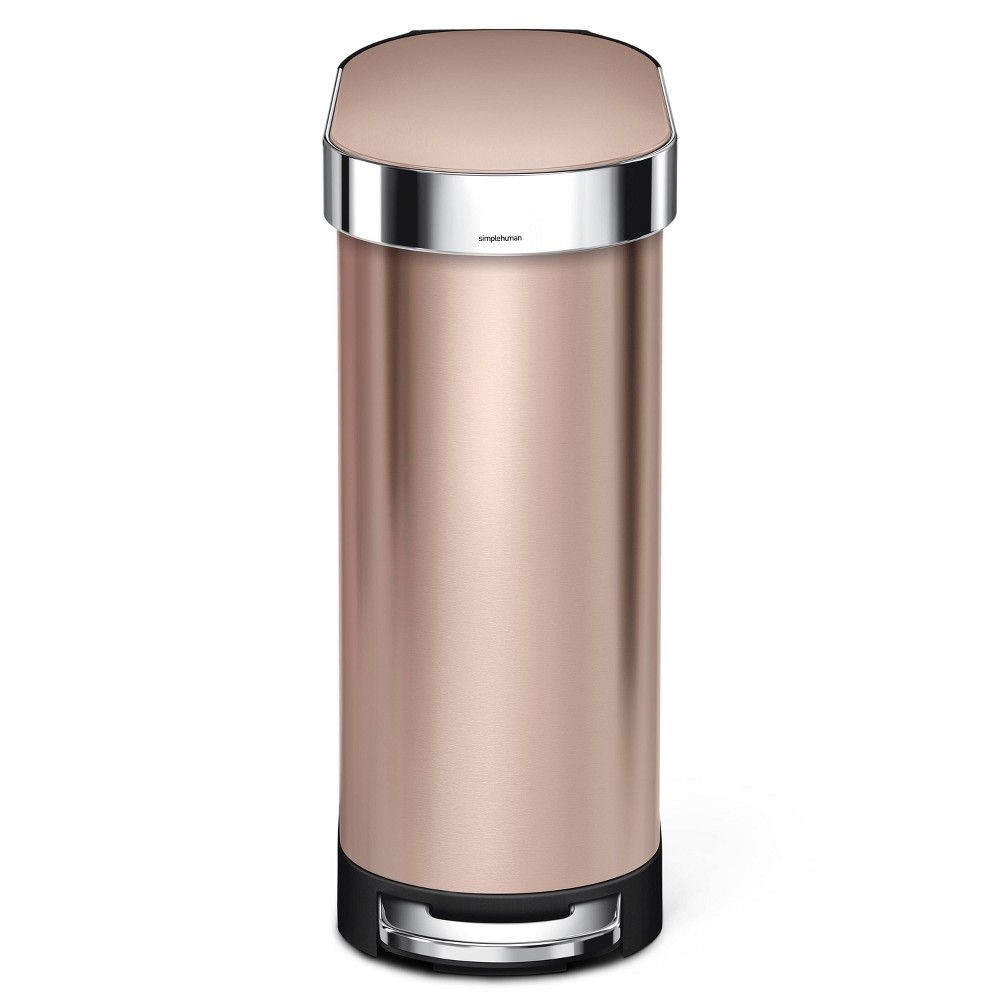 Image of simplehuman 45 ltr Slim Step Trash Can With Liner Rim Rose Gold/Stainless Steel