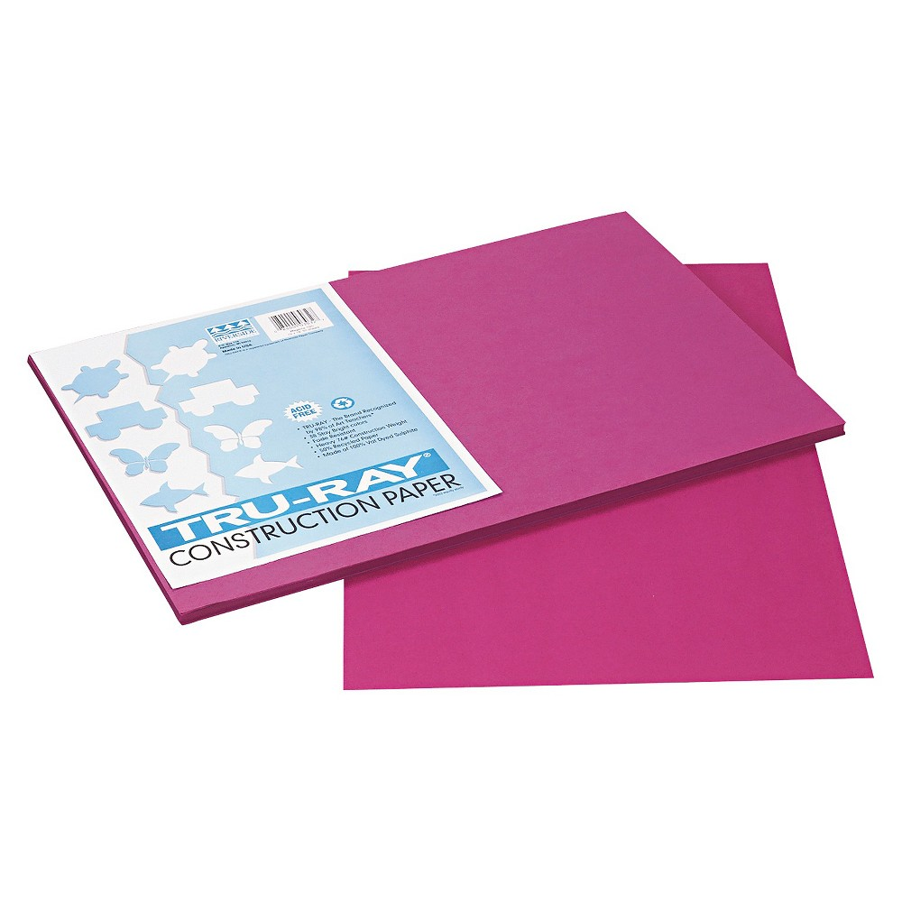 Pacon Tru-Ray Construction Paper, 76 lbs, 12 x 18 - Magenta (Pink) (50 Sheets Per Pack)
