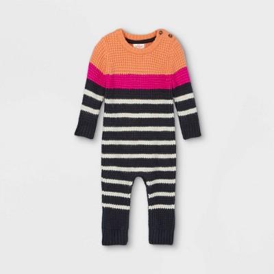 Baby Striped Sweater Jumpsuit - Cat & Jack™ Orange/Navy 0-3M