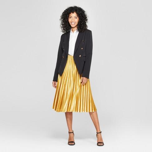 b6ae64f85 Women's Velvet Pleated Midi Skirt - A New Day™ Gold XS : Target