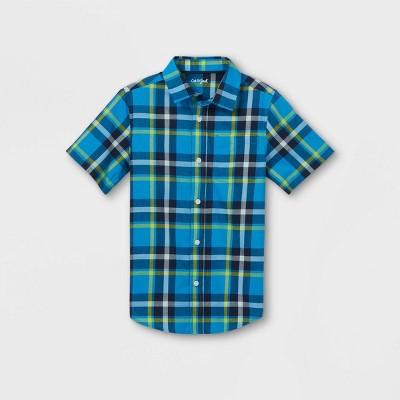 Boys' Woven Short Sleeve Button-Down Shirt - Cat & Jack™ Dark Blue/Green