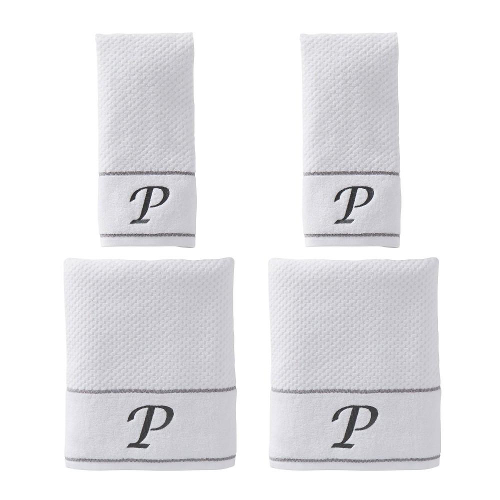 "Image of ""4pc """"P"""" Monogram Bath/Hand Towel Set White - SKL Home"""