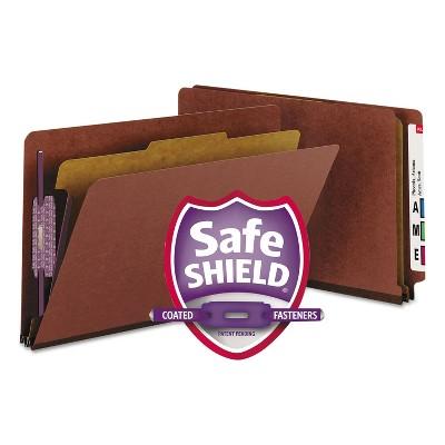 Smead Pressboard End Tab Classification Folder Legal Four-Section Red 10/Box 29855