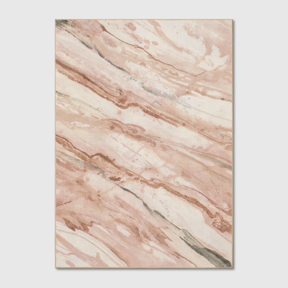 Wave Tufted Area Rugs Blush