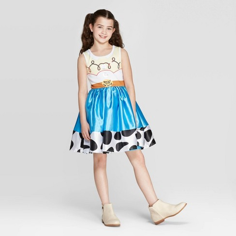 Girls' Toy Story Jessie Cosplay Dress - White/Blue - image 1 of 5