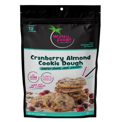 Maui Foods Frozen Cranberry Almond Bake at Home Cookie Dough - 12oz