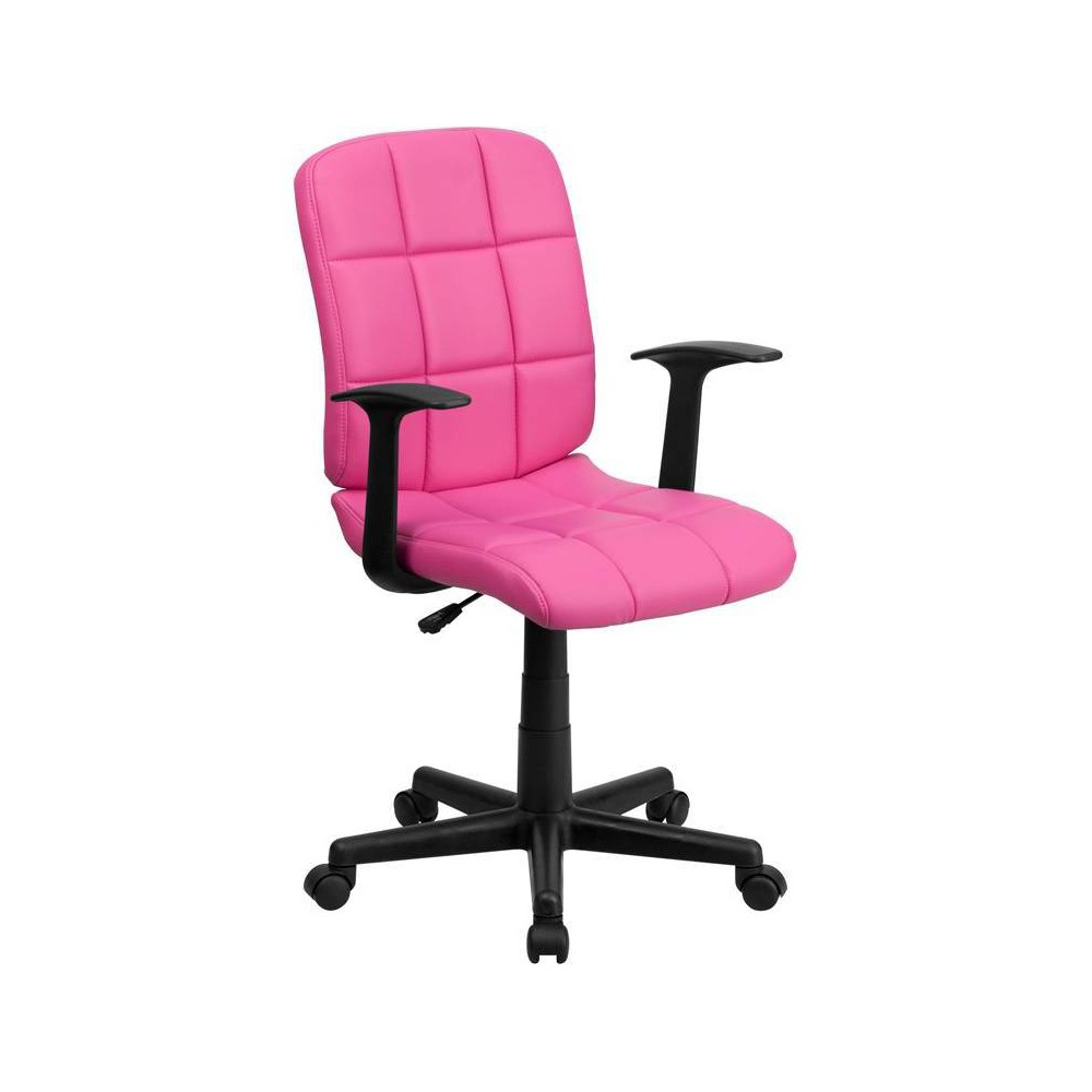 Mid-Back Swivel Task Chair Pink Quilted Vinyl - Flash Furniture
