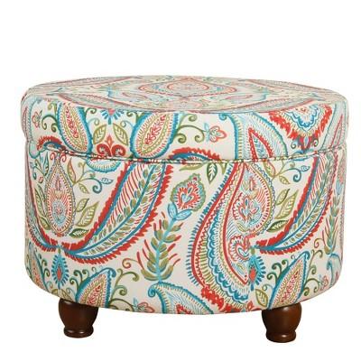 Fabric Upholstered Wooden Ottoman with Hidden Storage Beige/Red - Benzara