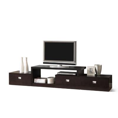 Marconi Asymmetrical Modern TV Stand Brown - Baxton Studio