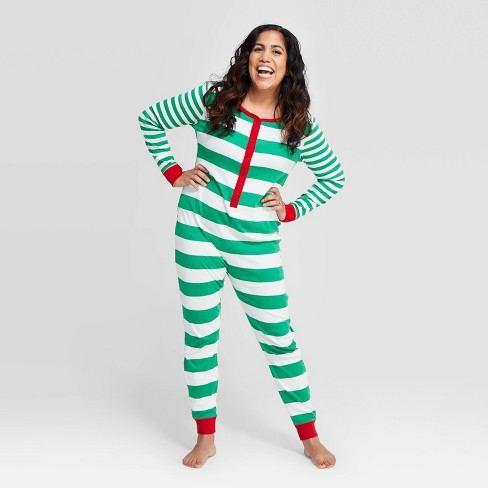 Women's Striped Holiday  Union Suit  - Wondershop™ Green - image 1 of 3
