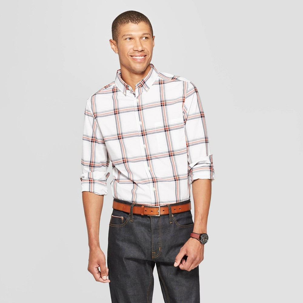 Men's Plaid Slim Fit Long Sleeve Northrop Poplin Button-Down Shirt - Goodfellow & Co White L