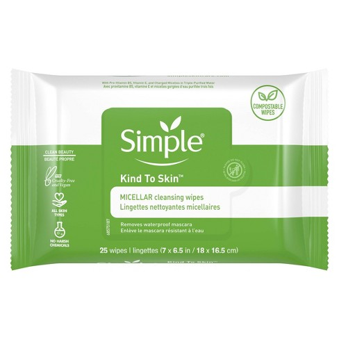 Unscented Simple Kind to Skin Micellar Makeup Remover Wipes - 25ct - image 1 of 4