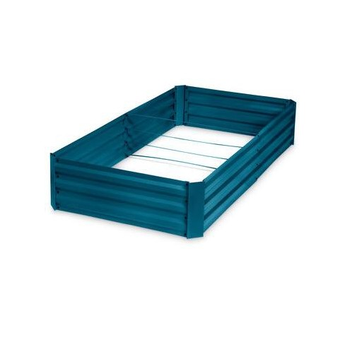 """Corrugated Metal Powder-coated steel Raised Bed, 34"""" x 68"""" - blue - Gardener's Supply Company - image 1 of 4"""
