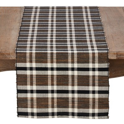 72 x16  Water Hyacinth Table Runner With Plaid Woven Design Brown - Saro Lifestyle