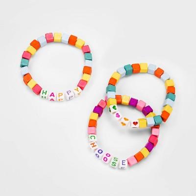 Girls' 3pk Choose Happy Bracelet Set - Cat & Jack™