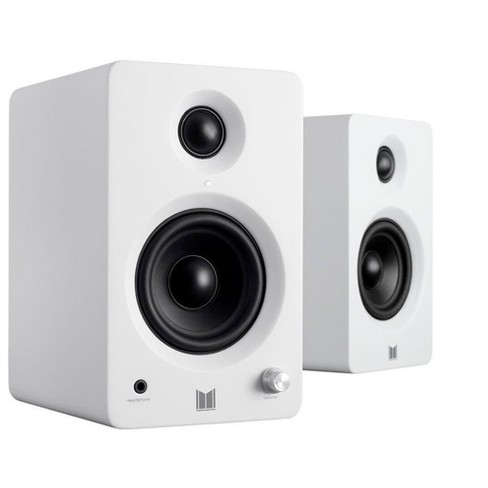 Monolith MM-3 Powered Multimedia Speakers - White (Pair) With AptX Bluetooth, Fron Headphone Jack, Digital Calss D - image 1 of 4