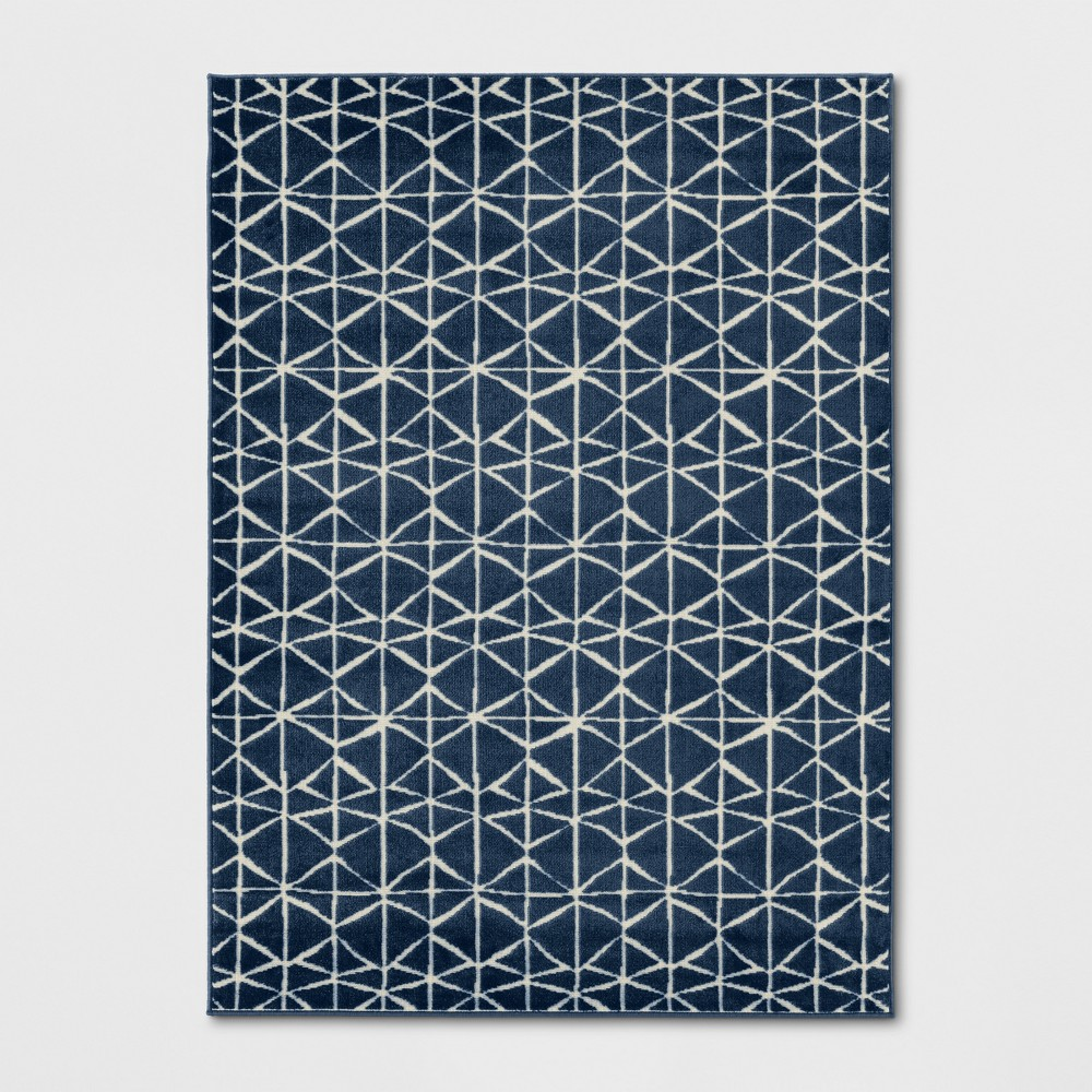 7'X10' Woven Geometric Area Rug Navy (Blue) - Project 62