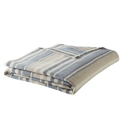 Herringbone Stripe Bed Blanket Blue - Eddie Bauer