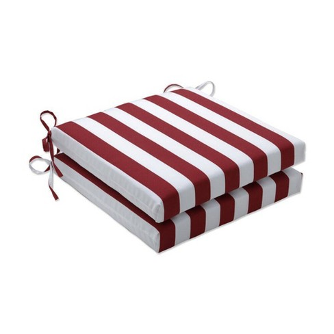 """2pc 20"""" x 20"""" x 3"""" Midland Outdoor Squared Corners Seat Cushion Americana Red - Pillow Perfect - image 1 of 1"""