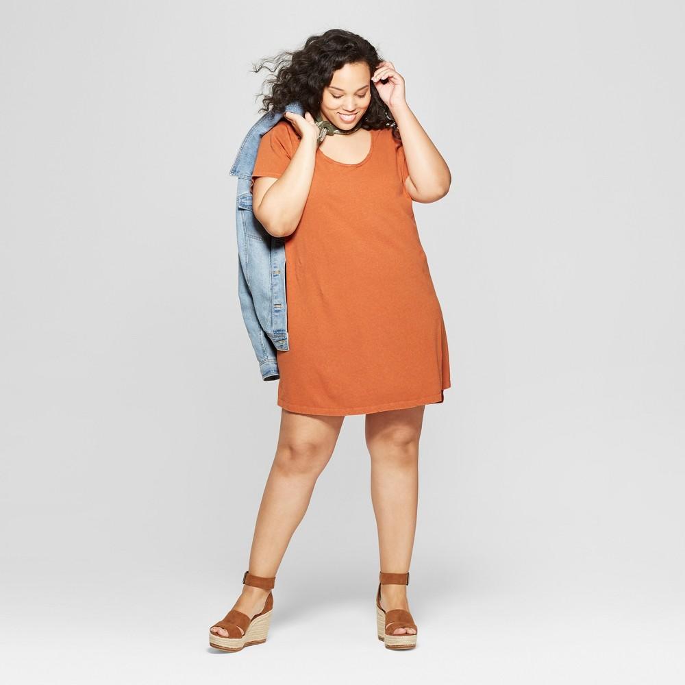 Women's Plus Size Short Sleeve Scoop Neck T-Shirt Dress - Universal Thread Orange 1X