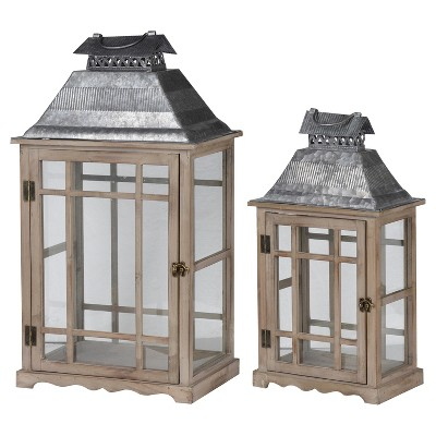 Classic Scape Lantern Set Washed Wood 2pk - A&B Home
